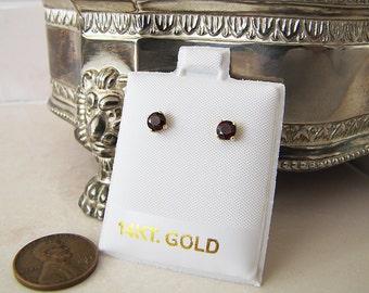 14k Gold Round garnet stud earrings, 4mm, gift for January birthday