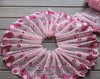 2 Yards Lace Trim Flower Floral Embroidered Scalloped Pink Tulle Lace 7.48 Inches Wide High Quality
