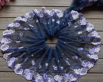 2 Yards Lace Trim Purple Flower Floral Embroidered Scalloped Tulle Lace 7.48 Inches Wide High Quality