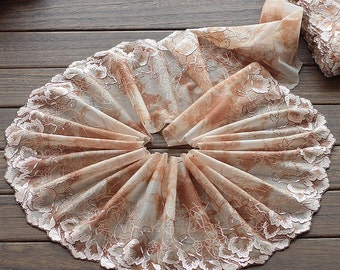 2 Yards Lace Trim Exquisite Flowers Embroidered Tulle Lace 7.87 Inches Wide High Quality