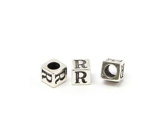 Alphabet Beads Sterling Silver 4mm Alphabet Blocks R - 1pc (3185)/1