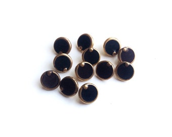 6 Black & Gold Vintage Buttons, French Buttons