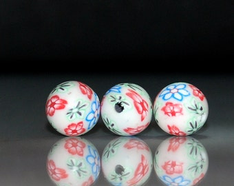 10 pcs 10mm White with Red, Blue & Green Flower Design Polymer Clay Round Beads