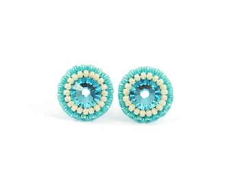 Turquoise stud earrings   Aqua stud earrings   turquoise bridesmaid earrings   turquoise aqua beach wedding bridal earrings   tiny studs