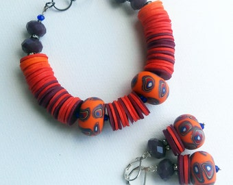 Polymer clay bracelet and earrings set,orange,multicolor,colorful