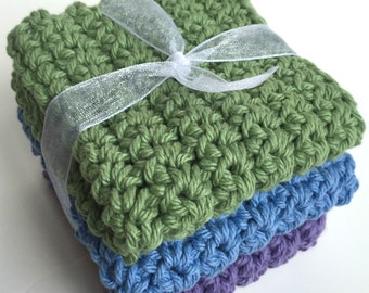Crochet Dishcloths Washcloths - Set of 3 - For Kitchen, Bathroom, Baby - Sage Green, Blue, Purple - 100% Cotton