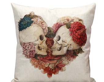 Valentine's Day, Skull, Lovers, Linen Cotton, Pillow, Romance,  Home Decor, Cushion Cover