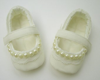 Ivory Christening Shoes Baby Girl Shoes Baby Baptism Flower Girl Shoes Ballerina Shoes Soft Sole Shoes Crib Shoes Wedding Flats