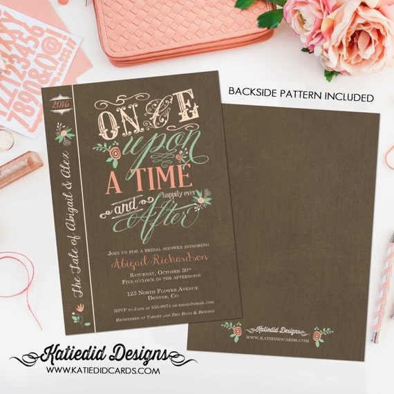 once upon a time bridal shower invitation storybook floral engagement rehearsal vintage rustic high tea (item 1379) shabby chic invitations