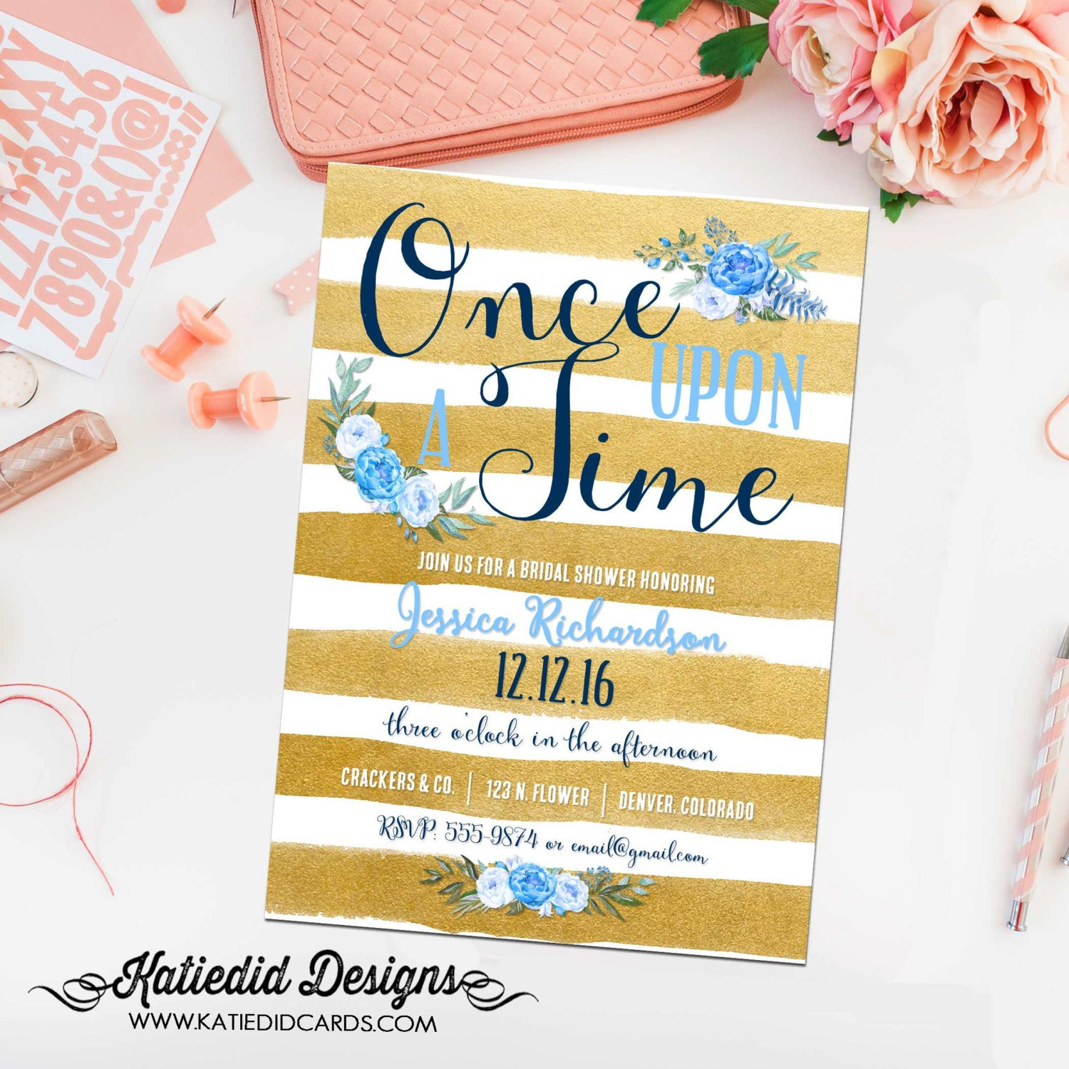 once upon a time baby shower invitation boy bridal shower gold stripe