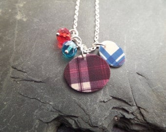 Scottish Tartan Necklace in Red and Turquoise, Highland Dance, Scotland Jewelry