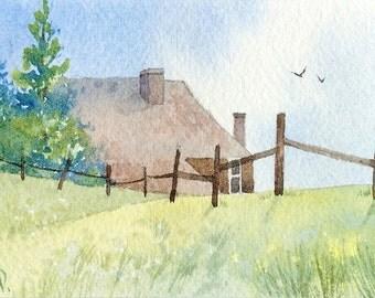 Original watercolor ACEO painting - Grampa's farm