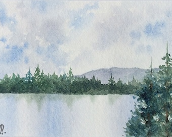 Original Watercolor Painting ACEO - Wilderness lake
