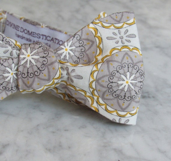 Bow Tie for Men in Gray and Yellow Medallions - Clip on, pre-tied adjustble strap or self tying