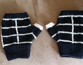 Black and white fingerless gloves - wristwarmers - mittens - mits