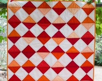 Red and Orange Diamonds Quilt - Lap Quilt - Baby Quilt - Throw Quilt