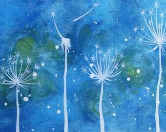 Dandelions in blue