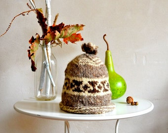 Vintage Wool Hat Hand Knit Natural Colors Brown Traditional 1970s Style