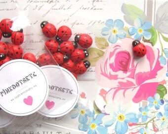 15 x Cute Wooden Ladybugs, Mini Ladybugs, Wooden Cabochons, 15 pcs, Ladybug Flatback Wooden Embellishments, Mini Wooden Ladybugs