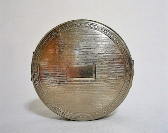 Vintage 1920's Richard Hudnut Deauville Compact - Silver - Tri-Fold
