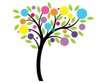 Childrens Tree Decal Polka Dot Tree Sticker Play room Tree