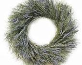 "Preserved Handmade 18"" Wreath-Winterbud & Preserved Lavender-Organic Wreath-Indoor Wreath-Summer Wreath-Door Wreath-"
