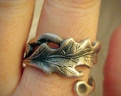 Oak Leaf Ring, Sterling Silver Spoon Ring, Fall Leaves, Autumn Leaves, Fall Rings, Nature Inspired, Acorn Ring, Adjustable Ring Size (6193)