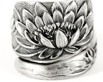 Lotus Flower Ring, Sterling Silver Spoon Ring, Stunning Pond Lily Ring, Pond Lilly, Art Nouveau Ring, Handmade Jewelry, Adjustable Ring 4476