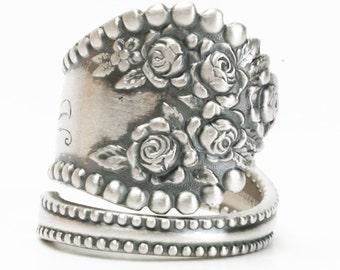Silver Rose Ring, Floral Ring, Sterling Silver Spoon Ring, Vintage Victorian Rosebud Ring, Gorham Lancaster, Adjustable Ring Size (5933)