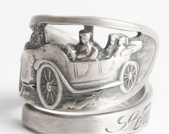 Vintage Roadster Ring, Automotive Jewelry, Sterling Silver Spoon Ring, South Bend Indiana, Family Automobile Ring Adjustable Ring Size, 6076