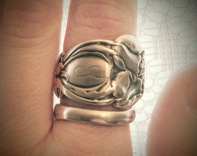 Sterling Silver Tulip Spoon Ring Handmade from an Antique Art Nouveau Spoon, Handmade Gift for Flower Lovers with Adjustable Ring Size, 5867
