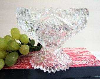 Antique Imperial Glass Co. NuCut Crystal Glass Footed Compote, Signed ... EAPG Pattern 574 Scalloped Sawtooth Edge