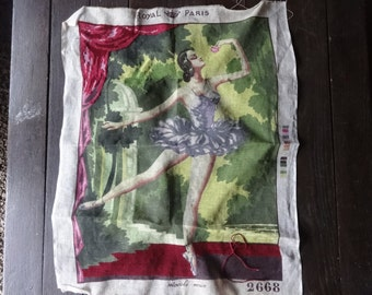 Vintage French Royal Paris Cross Stitch Ballet Dancer Tapestry Wall Hanging Picture circa 1950-60's / English Shop
