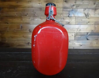 Vintage French Aluminium Red Lightweight Classic Drinking Water Flask circa 1960-70's / English Shop