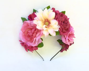 Pink Flower Crown, Flower Headband, Frida Kahlo Headpiece, Frida Kahlo Flower Crown, Day of the Dead Headpiece, Pink Frida Flower Crown