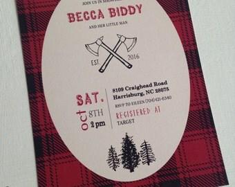 PRINTED Lumberjack Baby Shower Invitation, Boy or Girl, set of 25