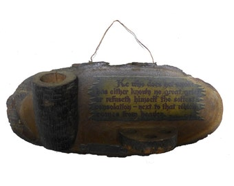 Vintage Wood Match Safe Holder w/ Pipe Rack - Dayton Ohio
