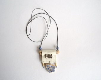 broken china necklace - white leather, driftwood, blue china pendant charm necklace - white and blue assemblage leather necklace -