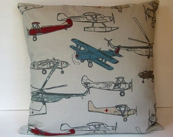 Decorative Vintage Airplane Pillow Boy's Room Pillow Den Pillow Cover