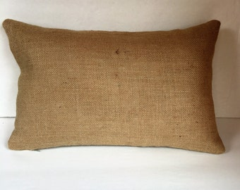 Burlap Lumbar Pillow Cover Made to Fit 12 x 18 Pillow