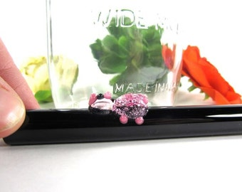 Tiny Pink Piggy on a Black Glass Smoothie Drinking Straw- 8 inches