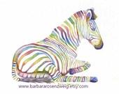 Zebra Art, Zebra Print, Zebra Painting, Watercolor Zebra, Kids Room Decor, Safari Animal, Nursery Wall Art, Childrens Room Decor, Baby Gift
