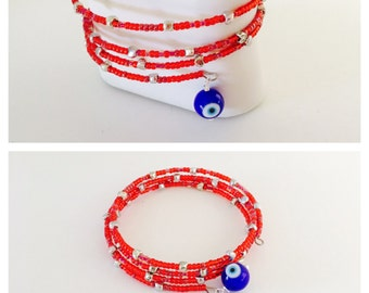 Evil eye Bracelet, Turkish inspired, Beaded  Memory Wire, Hand Made in The USA, Item No. H009