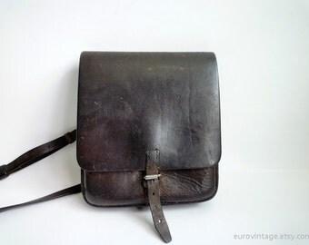 Vintage 50s Messenger Bag Brown Leather / Military Bag