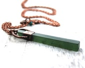 Serpentine necklace | Serpentine wand necklace | Green gemstone necklace | Serpentine pendant necklace | Mineral Necklace | Copper necklace