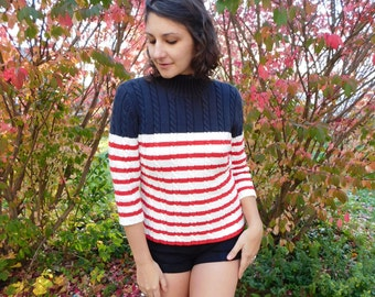 Vintage Tommy Hilfiger Cable Knit Sweater, Red, White And Blue Sweater, Patriotic Sweater