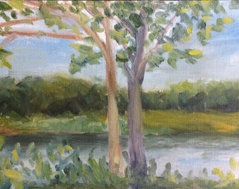 The Sentinels: original plein air oil painting 6x12