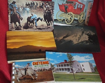 Vintage Cheyenne Wyoming Home of the Frontier Days Souvenir Photo Book and 5 Vintage Unused Scalloped Edge Postcards from Wyoming -
