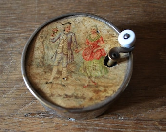 Victorian French Music box  wind up hand crank antique with sound byte