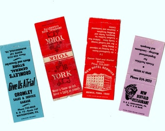 4 Vintage Matchbooks